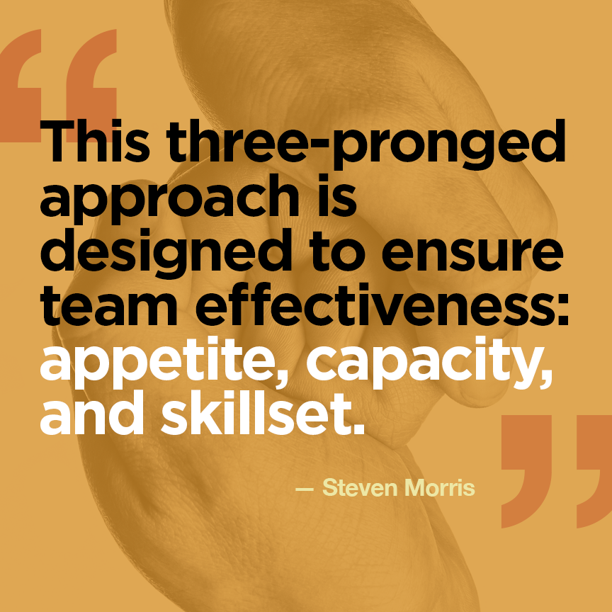 Appetite, Capacity, Skillset: a triad for measuring team effectiveness